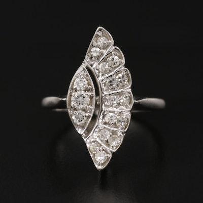 1940s 14K White Gold Diamond Ring