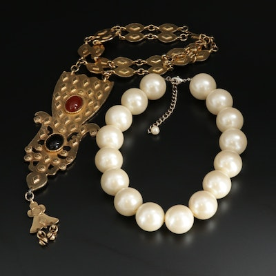 Oversized Imitation Pearl Strand and Lavalier Featuring Accessocraft NYC