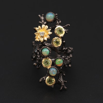 Sterling Silver Tree Branch Motif Ring with Opal, Citrine and Topaz