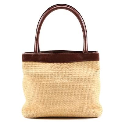 Chanel Woven Raffia and Brown Leather CC Tote
