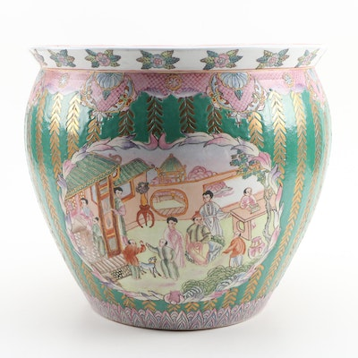 Chinese Ceramic Fishbowl Jardiniere with Genre Scenes, Late 20th Century