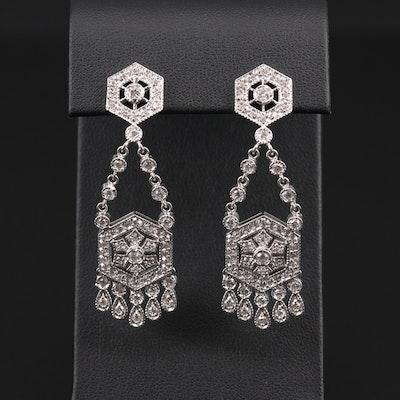 Vintage Style 14K White Gold 2.04 CTW Diamond Chandelier Earrings