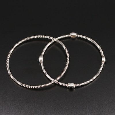 David Yurman Sterling Silver Black Onyx Stacking Bracelets