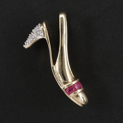 10K Yellow Gold Ruby And Diamond High Heel Shoe Pendant
