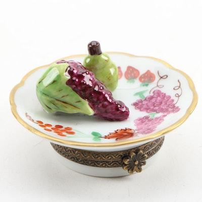 Hand-Painted Porcelain Fruit Plate Limoges Box