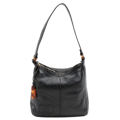 Chanel Black Lambskin Leather CC Shoulder Bag