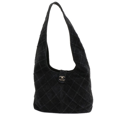 Chanel Quilted Black Suede Hobo Bag with CC Turnlock