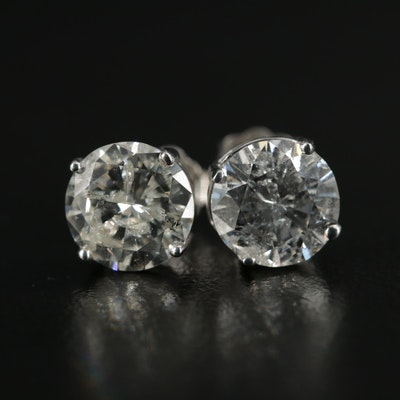 14K White Gold 3.17 CTW Diamond Solitaire Stud Earrings