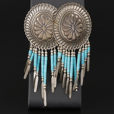 Quoc Turquoise Inc. Sterling Silver Turquoise Concho Earrings
