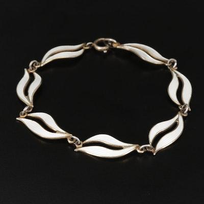 Vintage Norwegian Aksel Holmsen Sterling Silver Enamel Bracelet