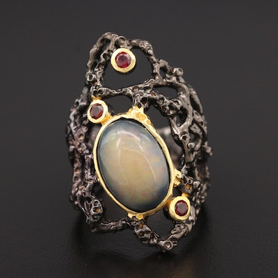 Sterling Silver Opal and Garnet Biomorphic Motif Ring