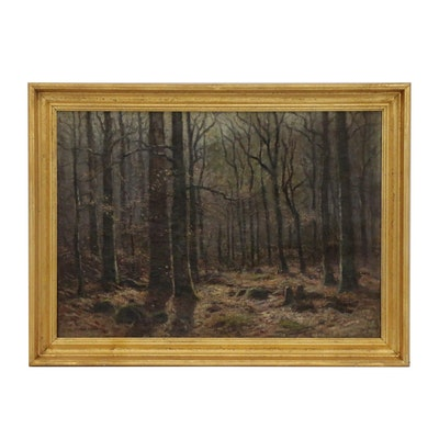 Frank A. Barney Oil Painting of Forest Landscape