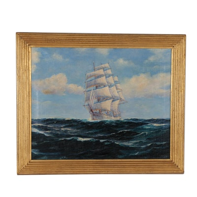 Nautical Oil Painting, Mid 20th Century