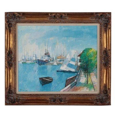 Nautical Oil Painting, Late 20th Century