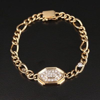 Hammerman Bros. 14K Yellow Gold Diamond Bracelet with Figaro Link
