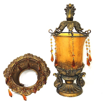 Recessed Beaded Chandelier and Beaded Glass Torchette