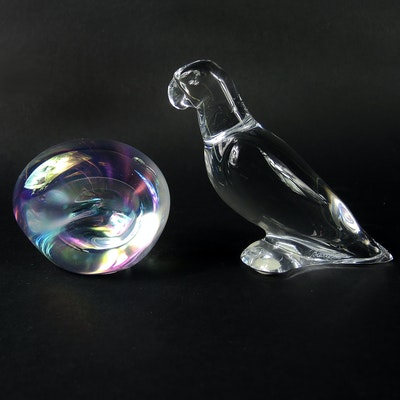 Eickholt Iridescent Paperweight and Baccarat Parrot Figurine