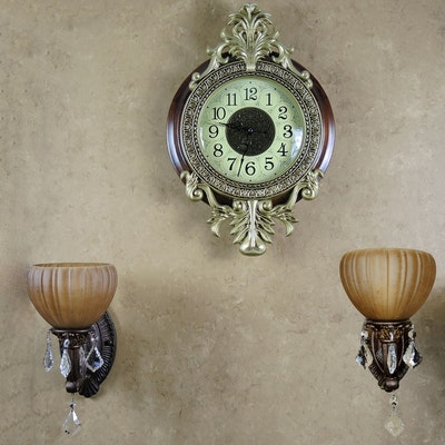 Rococo Style Wall Clock and Glass Wall Sconces