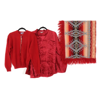 Pendleton Wool Blanket and Cardigan with Chinese Silk Embroidered Pajama Set