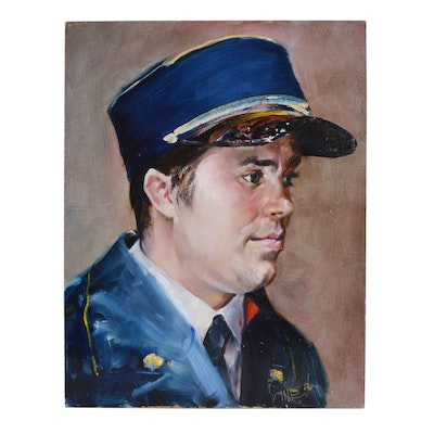 Wesley Kime Uniformed Man Portrait Oil Painting