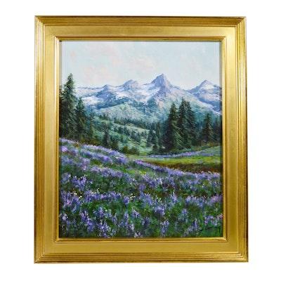 Joan Colomer Olotina Landscape School Style Oil Painting