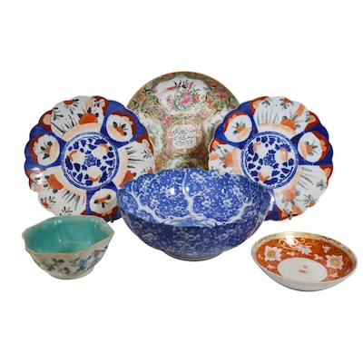 Turkish Rose Medallion Shallow Porcelain Bowl and Other Asian Bowls, Antique