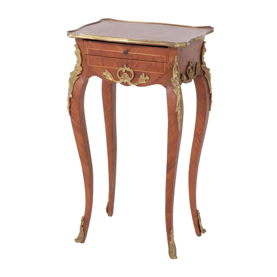 Louis XV Style Gilt Metal-Mounted Tulipwood Parquetry, Mid-20th Century