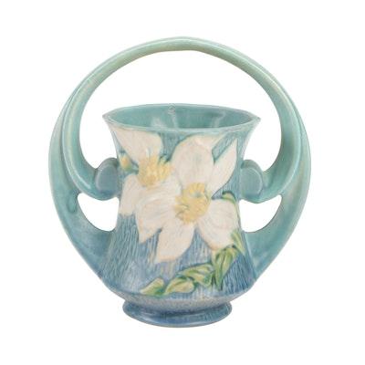 """Roseville Pottery """"Clematis Ciel Blue"""" Handled Basket"""