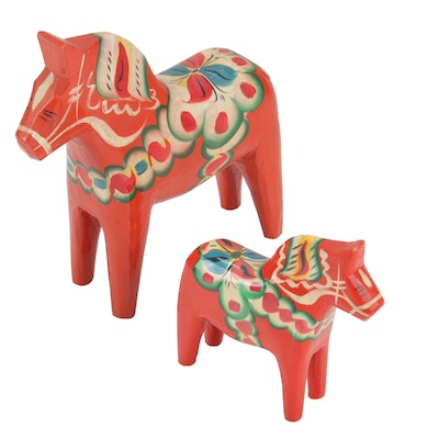 Nils Olsson Swedish Hand-Painted Wooden Horse Figurines