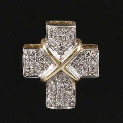 9K Yellow Gold Diamond Cross Pendant