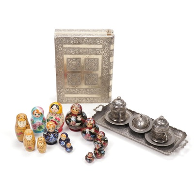 Engraved Turkish Coffee Set with Matryoshka Dolls and Book Form Jewelry Box
