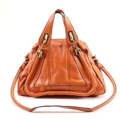 Chloé Paraty Convertible Satchel in Cognac Leather