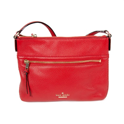 Kate Spade New York Red Pebbled Leather Crossbody Bag