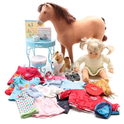 """American Girl """"Bitty Baby"""" and Chestnut Horse With Clothing and Accessories"""