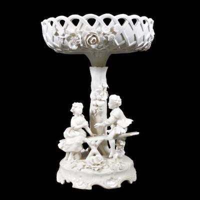Von Schierholz Reticulated Figural Blanc de Chine Porcelain Epergne