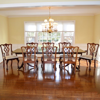 Duncan Phyfe Style Dining Table and Statesville Chair Co. Mahogany Chairs