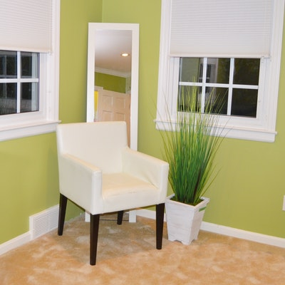 Contemporary West Elm Vinyl Armchair with Floor Mirror and Faux Plant Decor