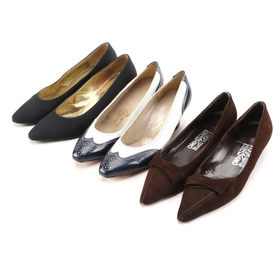 Salvatore Ferragamo and Bruno Magli Suede and Leather Pumps and Kitten Heels