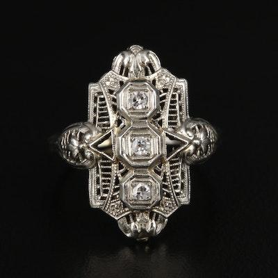 Circa 1930s 18K White Gold Diamond Ring