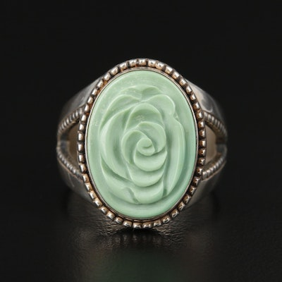 Carolyn Pollack Southwestern Sterling Silver Carved Resin Ring