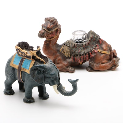 Painted Metal Camel Inkwell and Elephant Mechanical Bank