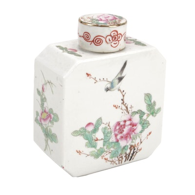 Chinese Square Porcelain Tea Caddy with Blossom and Songbird Motifs