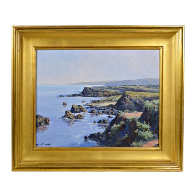 "Joan Colomer Olotina Landscape School Style Oil Painting ""Afternoon Coastline"""