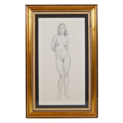 "Paul Ashbrook Pencil Drawing ""Nude Standing"", 1942"