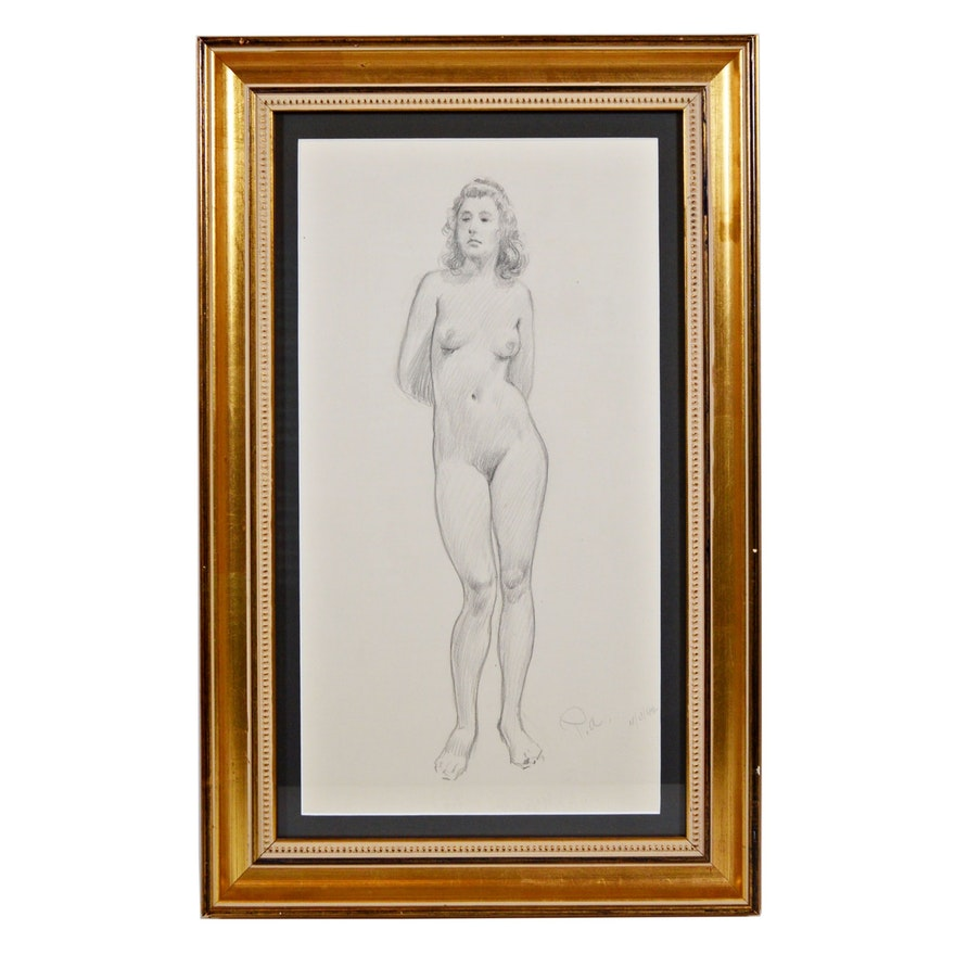 "Paul Ashbrook Pencil Drawing ""Nude Standing"", 1942"
