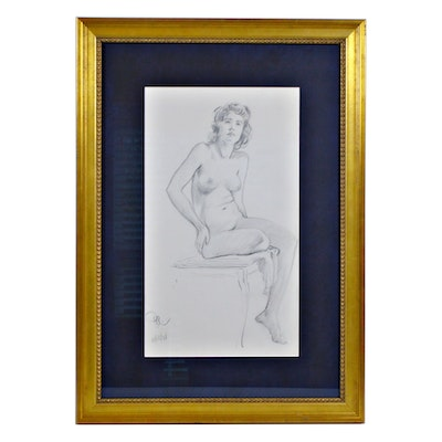 "Paul Ashbrook Pencil Drawing ""Nude Seated"", 1938"