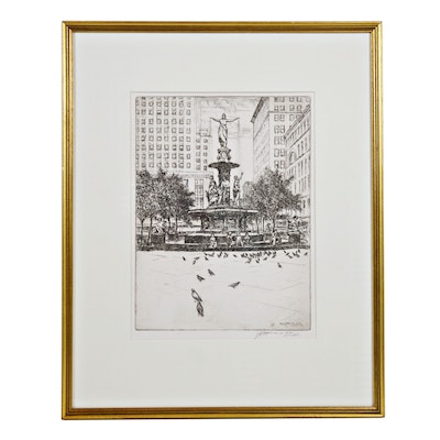 "Edward Timothy Hurley Etching ""The Fountain and the Pigeons"""