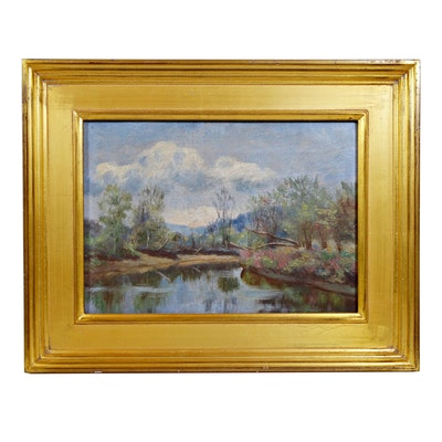 "John Fitch Landscape Oil Painting ""Serene River"""