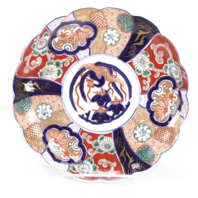 Japanese Hand-Painted Imari Lobed Porcelain Plate