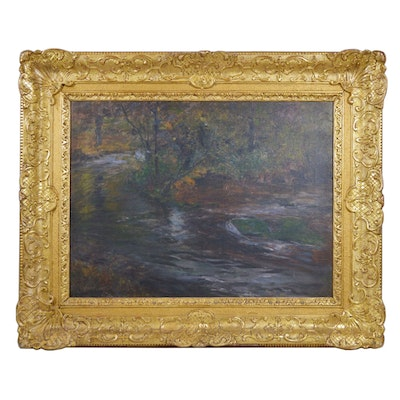 "Julius Gleson Landscape Oil Painting ""Woodland Scene"""